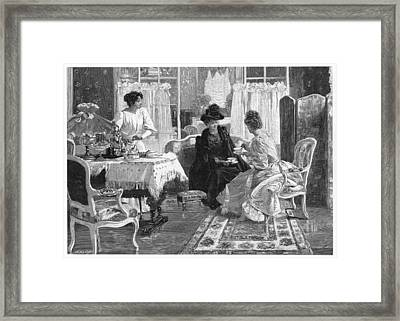 A Lady Entertains A  Visitor Framed Print by Mary Evans Picture Library