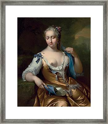 A Lady In A Landscape With A Fly On Her Shoulder Framed Print by Frans van der Mijn