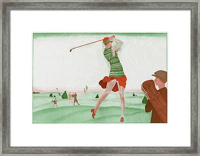 A Lady Player At Golfe Juan Framed Print