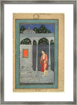 A Lady Visiting A Shrine Framed Print by British Library