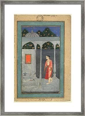 A Lady Visiting A Shrine Framed Print
