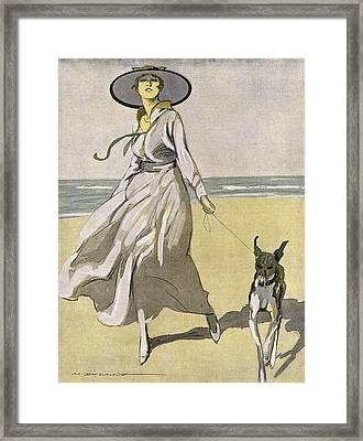 A Lady Walks With Her Lurcher Framed Print
