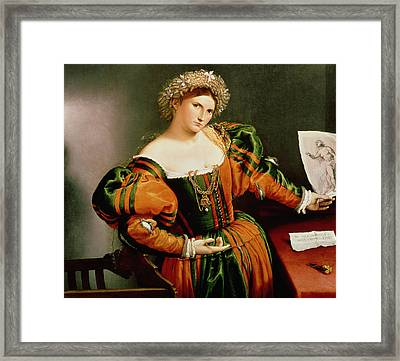 A Lady With A Drawing Of Lucretia, C.1530-33 Oil On Canvas Transferred From Wood Framed Print