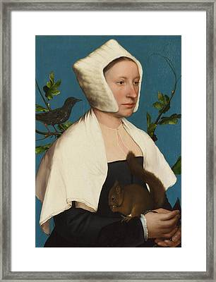 A Lady With A Squirrel And A Starling Framed Print