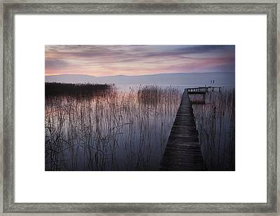 A Lake A Pier And Some Reeds Framed Print