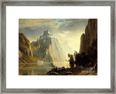 A Lake In The Sierra Nevada Framed Print by Albert Bierstadt