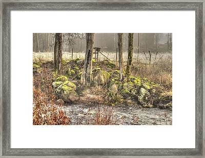 A Lake In The Woods With Mushy Stones Framed Print by Tommytechno Sweden