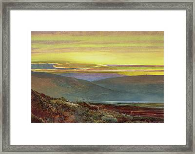A Lake Landscape At Sunset Framed Print