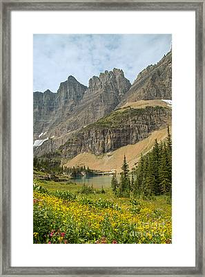 A Lake Near Iceberg Lake Along The Trail Framed Print by Natural Focal Point Photography