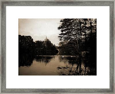 A Lake View In Central Park, New York, Lakes & Ponds Framed Print