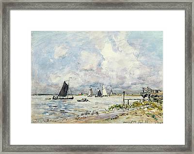 A Landing Stage On The Escaut Framed Print by Johan-Barthold Jongkind