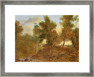 A Landscape At Wick, Gloucestershire, Below The Rocks Framed Print by Litz Collection