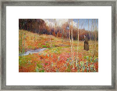 A Landscape In Spring With A Nun Framed Print by John George Sowerby