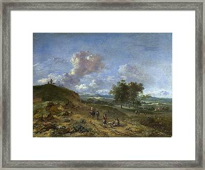 A Landscape With A High Dune And Peasants On A Road Framed Print by Jan Wijnants