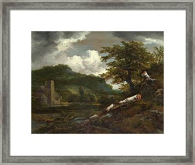 A Landscape With A Ruined Building Framed Print
