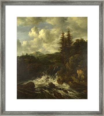 A Landscape With A Waterfall And A Castle On A Hill Framed Print
