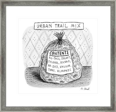 A Large Bag Is Centered In This Picture Framed Print by Roz Chast