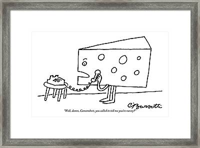A Large Piece Of Swiss Cheese Talks Framed Print by Charles Barsotti
