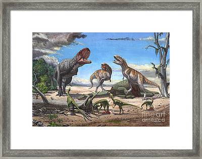 A Large Rajasaurus Roars In An Attempt Framed Print by Sergey Krasovskiy