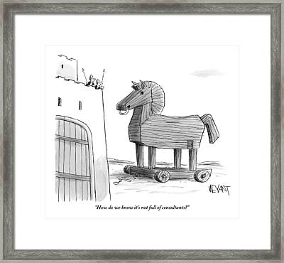 A Large Wooden Horse Framed Print