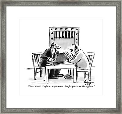A Lawyer Is Seen Speaking With A Man In A Prison Framed Print by Lee Lorenz