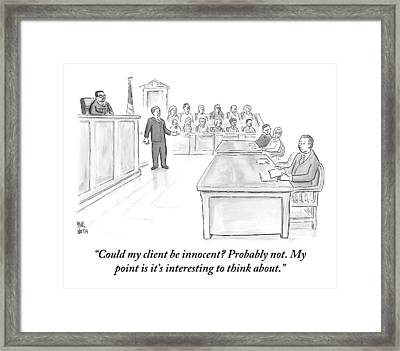 A Lawyer Makes His Case In Front Of A Jury Framed Print by Paul Noth