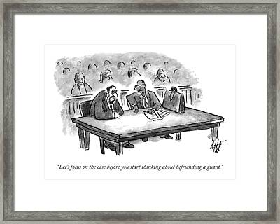 A Lawyer Speaks To His Client In Court Framed Print
