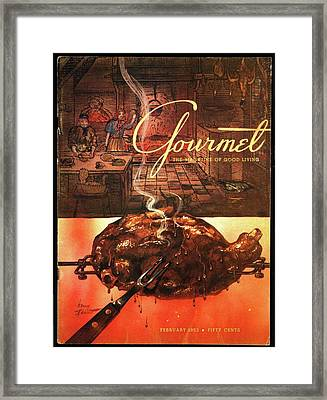 A Leg Of Lamb On A Spit Beneath An Etching Framed Print by Henry Stahlhut