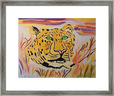Framed Print featuring the painting A Leopard's Gaze by Meryl Goudey