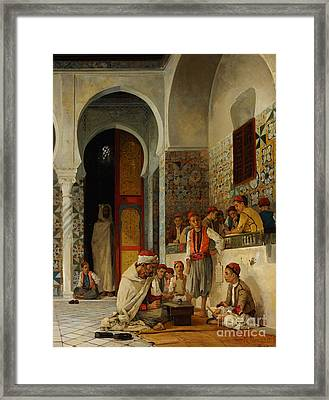 A Lesson In The Koran Framed Print by Celestial Images