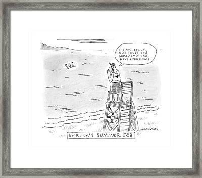 A Lifeguard Shouts At A Drowning Man Framed Print