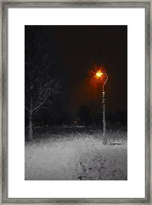 A Light In A Cold Winters Night Framed Print by Steve K