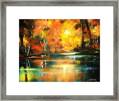 A Light In The Forest Framed Print by Al Brown