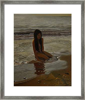 A Line Between Ocean And Sand Framed Print