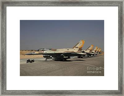 A Line Of F-16i Sufa Of The Israeli Air Framed Print by Ofer Zidon