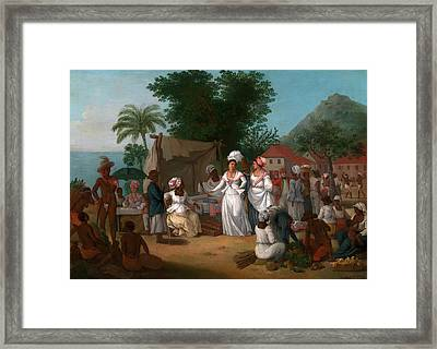 A Linen Market With A Linen-stall And Vegetable Seller Framed Print