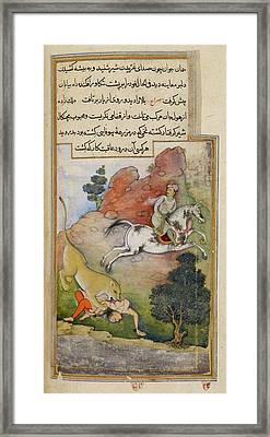A Lion Attacking Framed Print by British Library