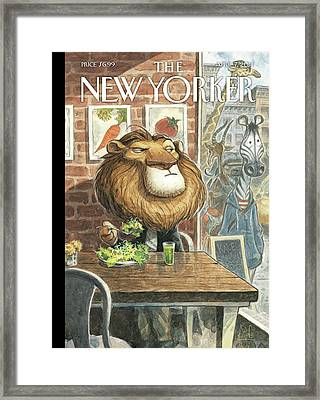 A Lion Eats At A Vegetarian Restaurant Framed Print