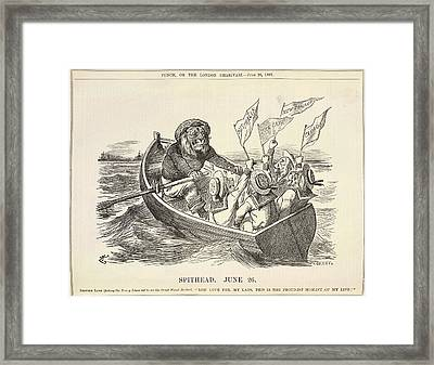 A Lion Rowing A Boat Framed Print
