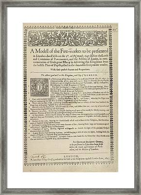 A List Of Fireworks Framed Print by British Library