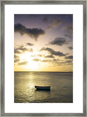 A Little Boat In Sunset Framed Print by Ellie Teramoto
