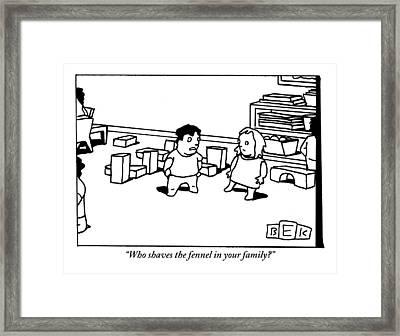 A Little Boy Asks A Little Girl Framed Print