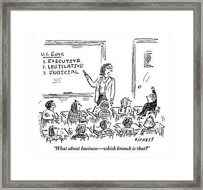 A Little Boy Asks His Teacher In The Classroom Framed Print