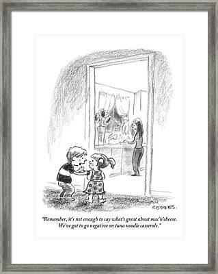 A Little Boy Speaks To A Little Girl Framed Print