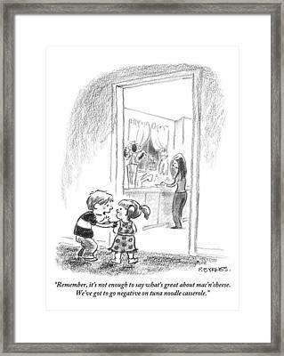 A Little Boy Speaks To A Little Girl Framed Print by Pat Byrnes
