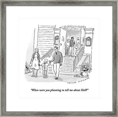 A Little Boy Speaks To His Parents Framed Print