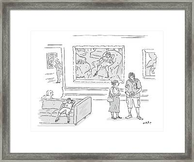 A Little Girl In A Museum Lounges In Front Framed Print