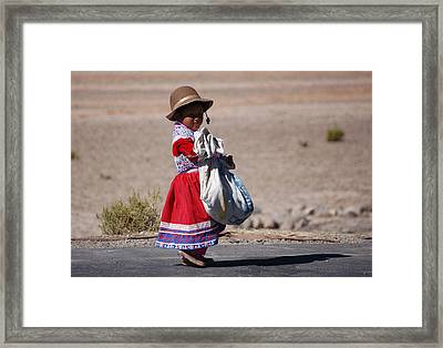 A Little Girl In The  High Plain Framed Print by RicardMN Photography