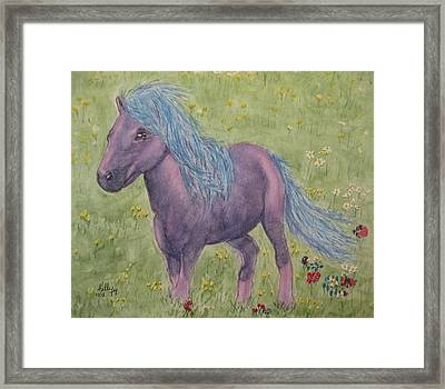 Framed Print featuring the painting A Little Girls Imagination Pony by Kelly Mills