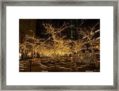 A Little Golden Garden In The Heart Of Manhattan New York City Framed Print by Georgia Mizuleva